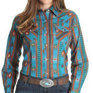 WRANGLER Retro M L NWT Turquoise Western Shirt